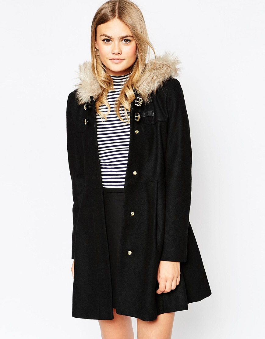 Asos Duffle Coat With Faux Fur Hood in Black | Lyst