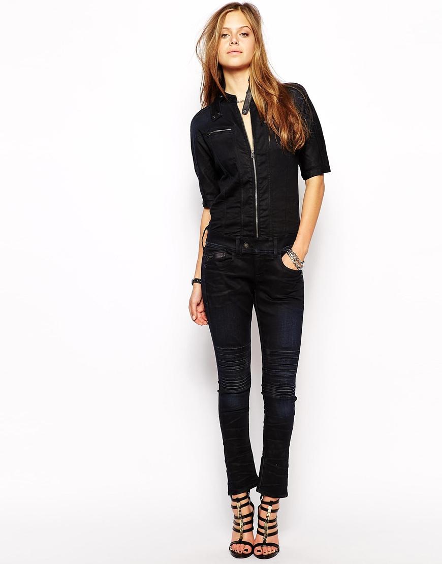 lyst g star raw g star denim jumpsuit in blue. Black Bedroom Furniture Sets. Home Design Ideas