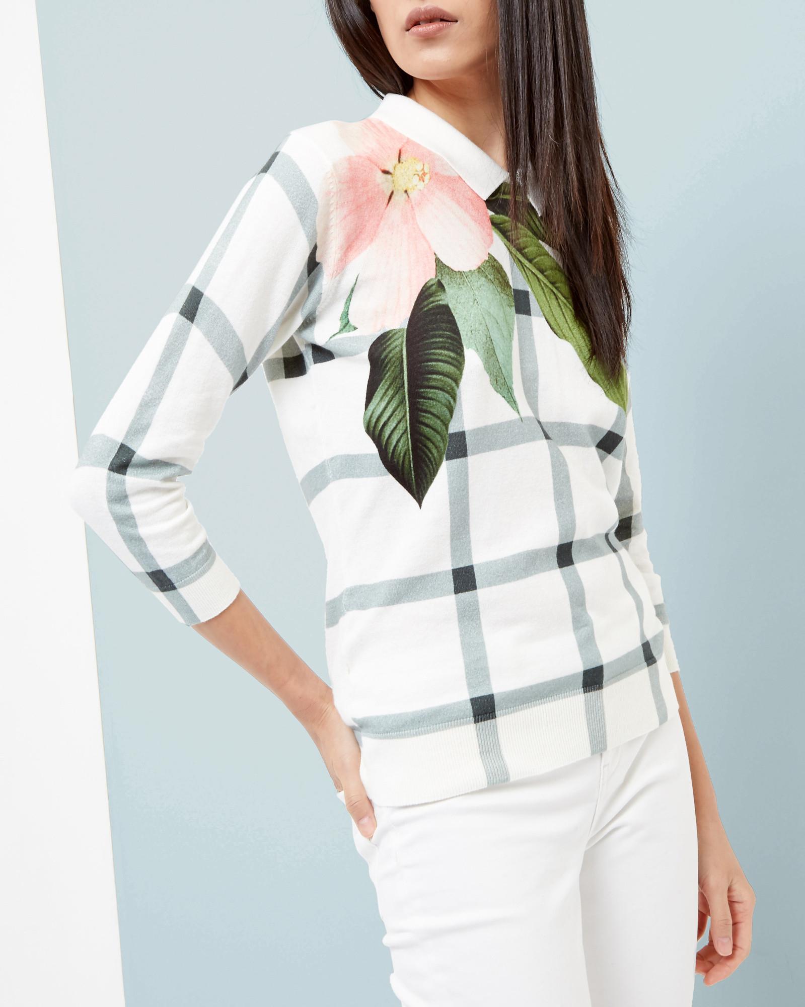 Ted Baker Secret Trellis Collar Sweater in White - Lyst 9d9cb7dfb1