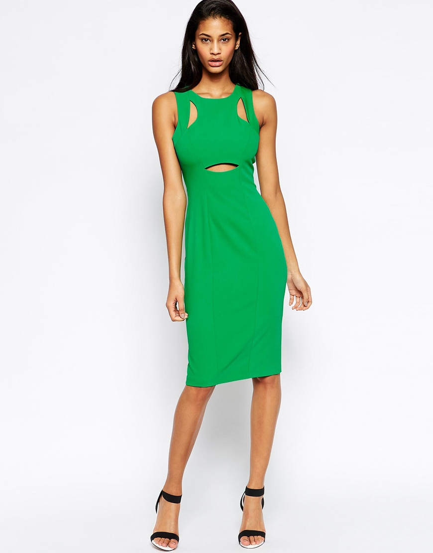 Asos Peekaboo Dress in Green | Lyst
