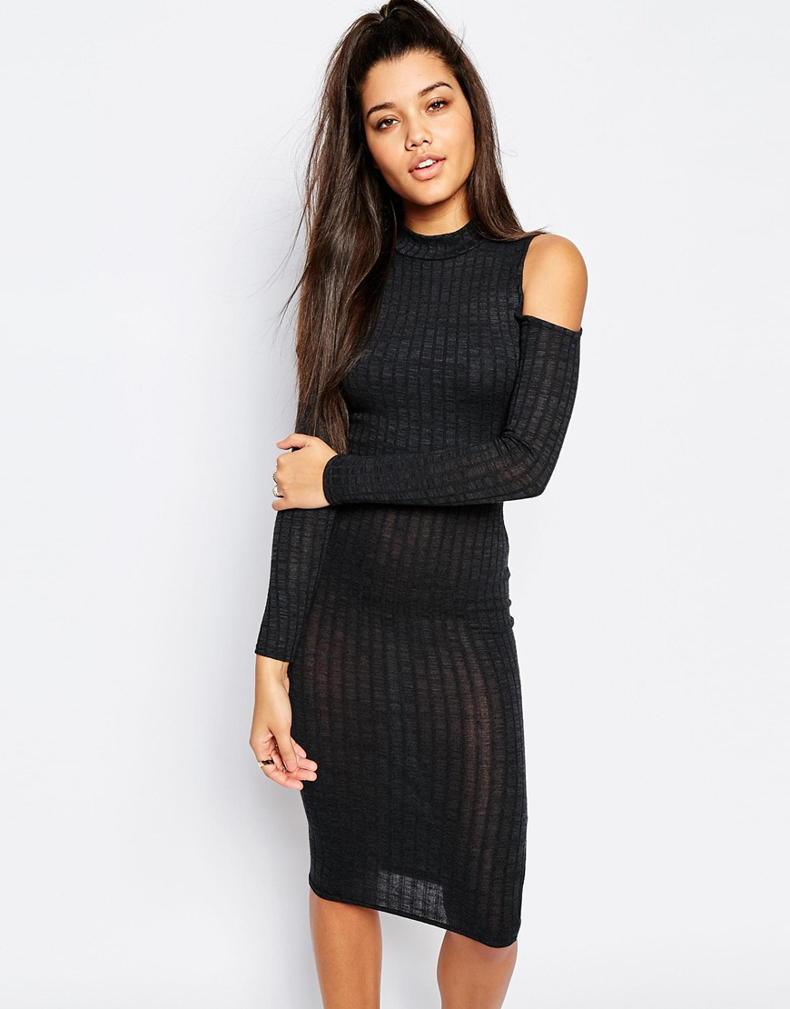 79b1695016 Missguided Cold Shoulder Ribbed Midi Bodycon Dress in Black - Lyst