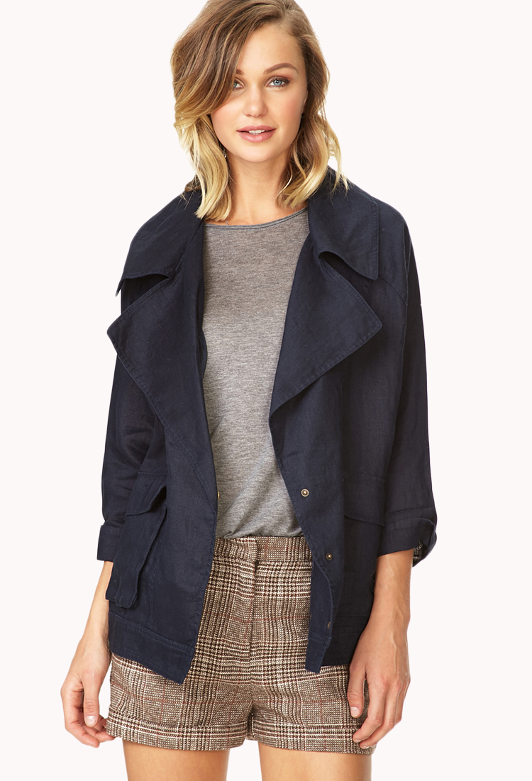 f7983d4ae64 Lyst - Forever 21 Easy Linen Jacket You ve Been Added To The ...