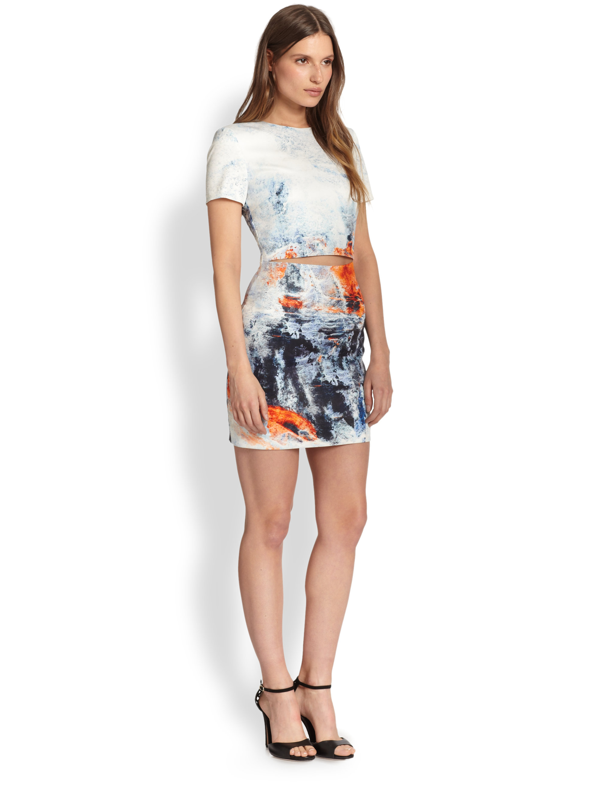 Bec amp bridge fire amp ice printed cutout waist dress in white lyst