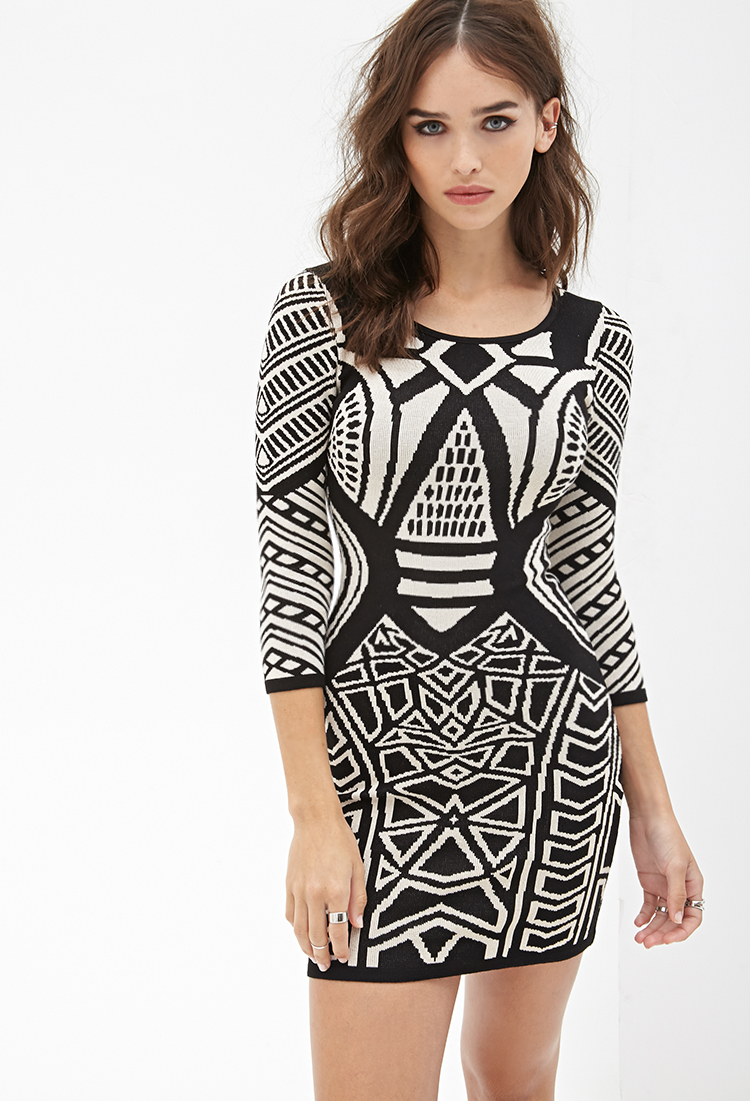 ca1d2d371a2 Lyst - Forever 21 Geo Pattern Bodycon Dress in Black