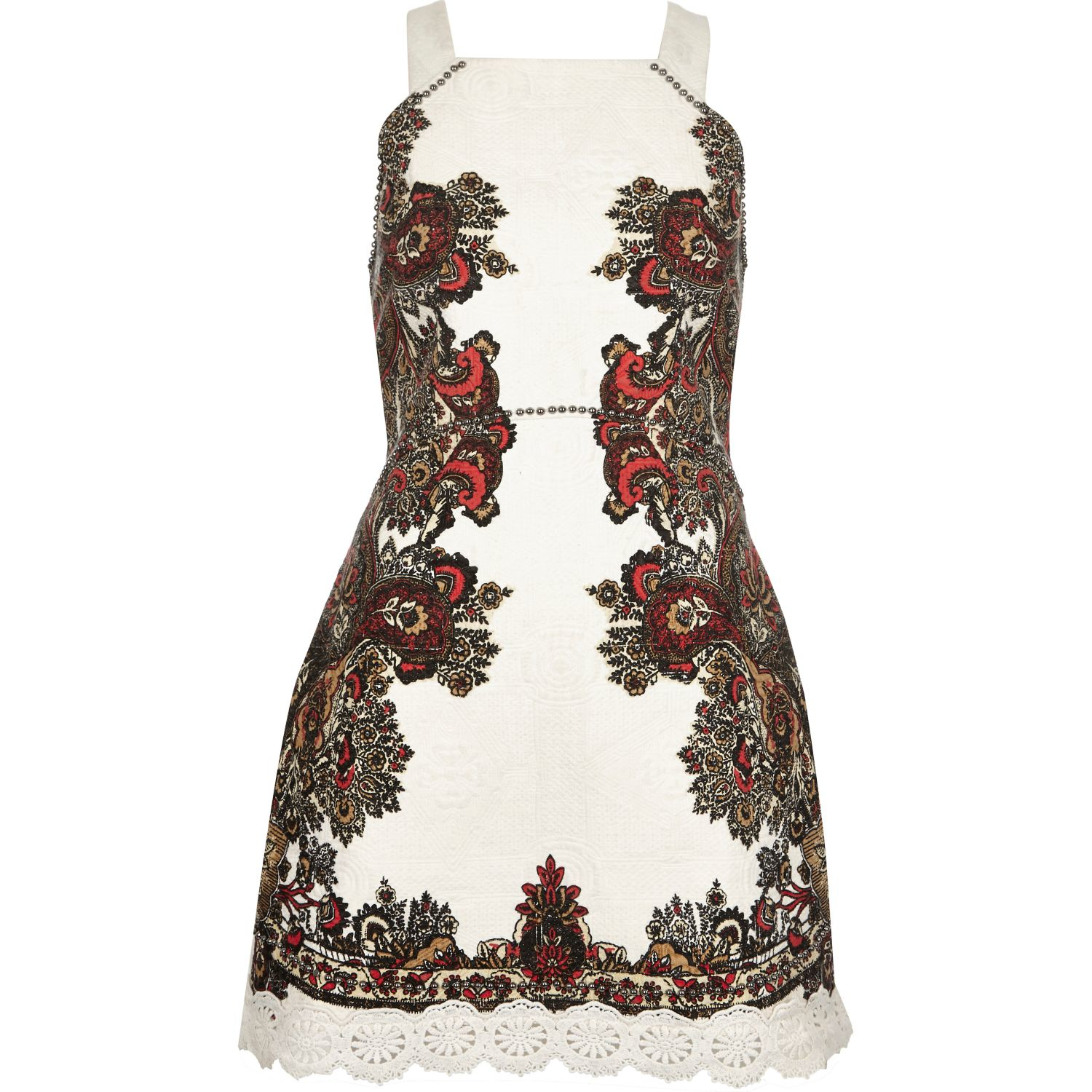 Womens Red embroideRed button through cami dress River Island nKP9oi