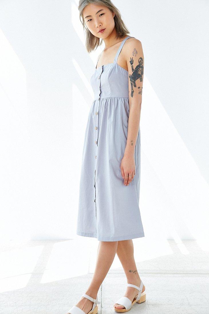 Lyst Cooperative Button Front Poplin Midi Dress In Blue