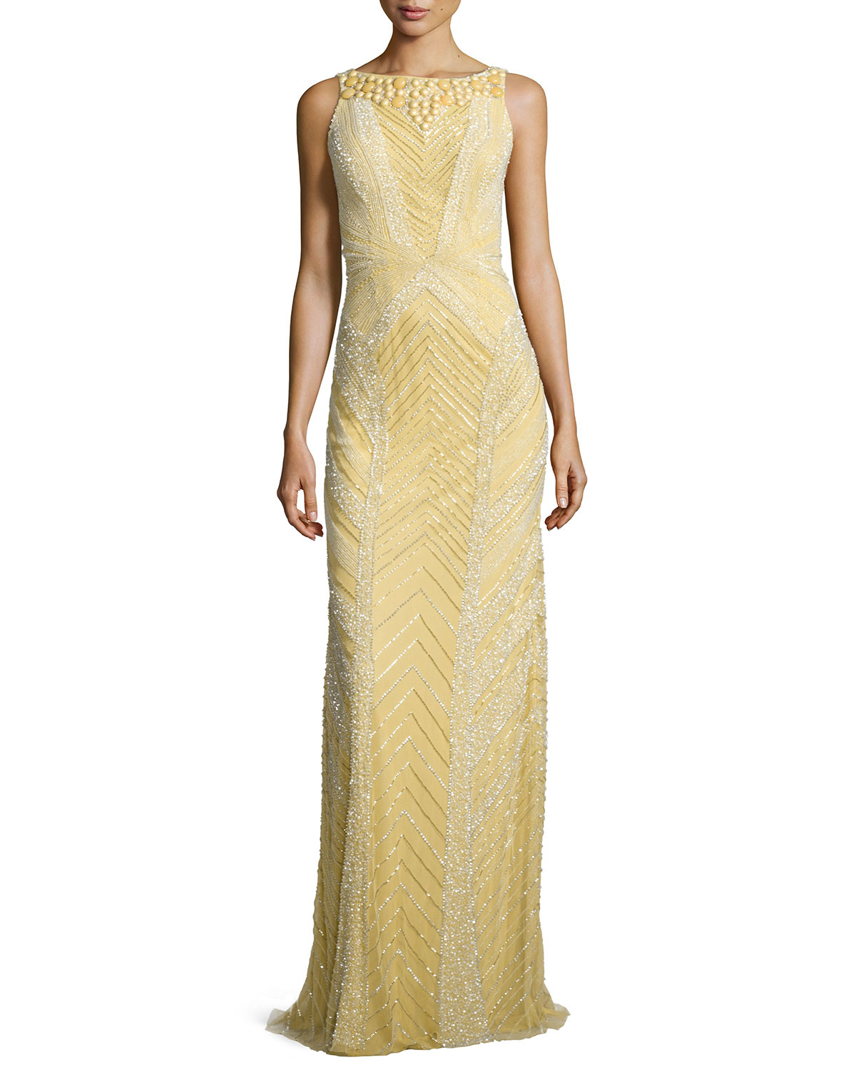 theia deco sequin beaded gown in gold dijon lyst
