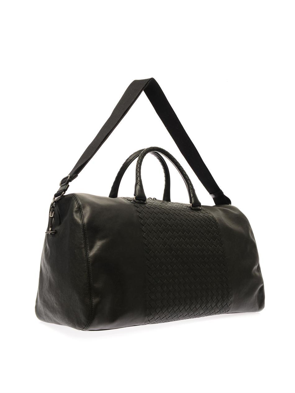 Bottega Veneta Intrecciato Leather Holdall in Black for Men - Lyst 4653468a5bf13