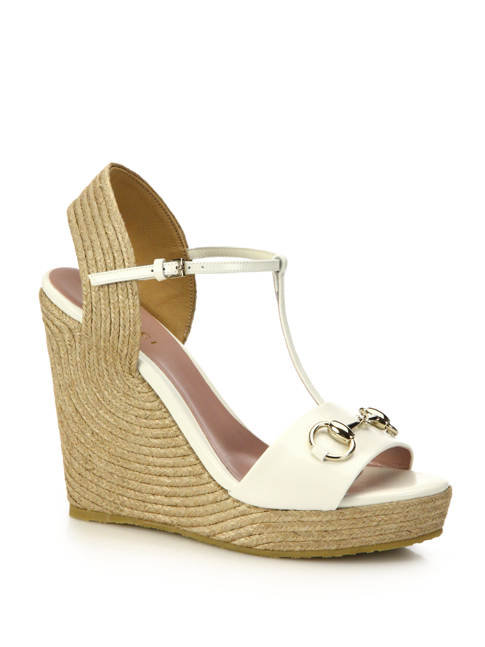 92e9c0bada3b3c Lyst - Gucci Patent Leather Horsebit Espadrille Wedge Sandals in White