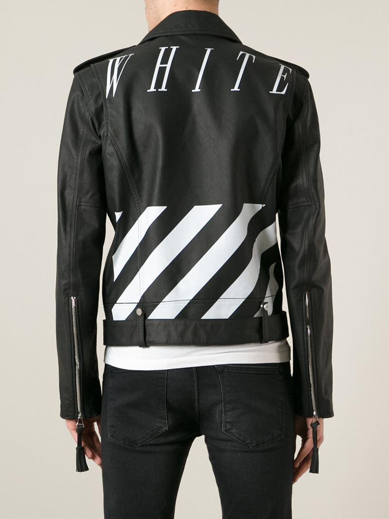 off white c o virgil abloh biker jacket in black for men. Black Bedroom Furniture Sets. Home Design Ideas
