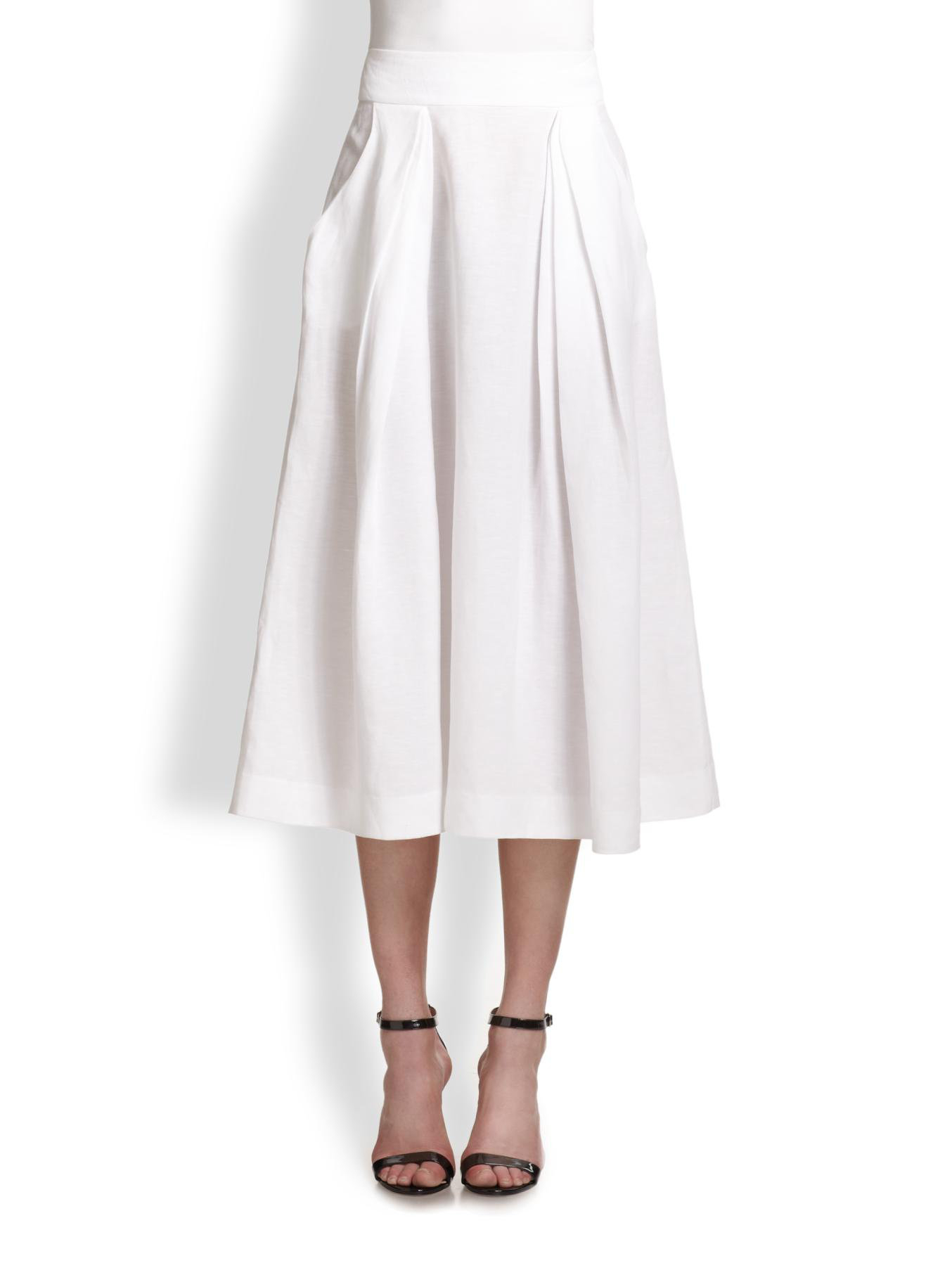 milly pleated aline skirt in white lyst