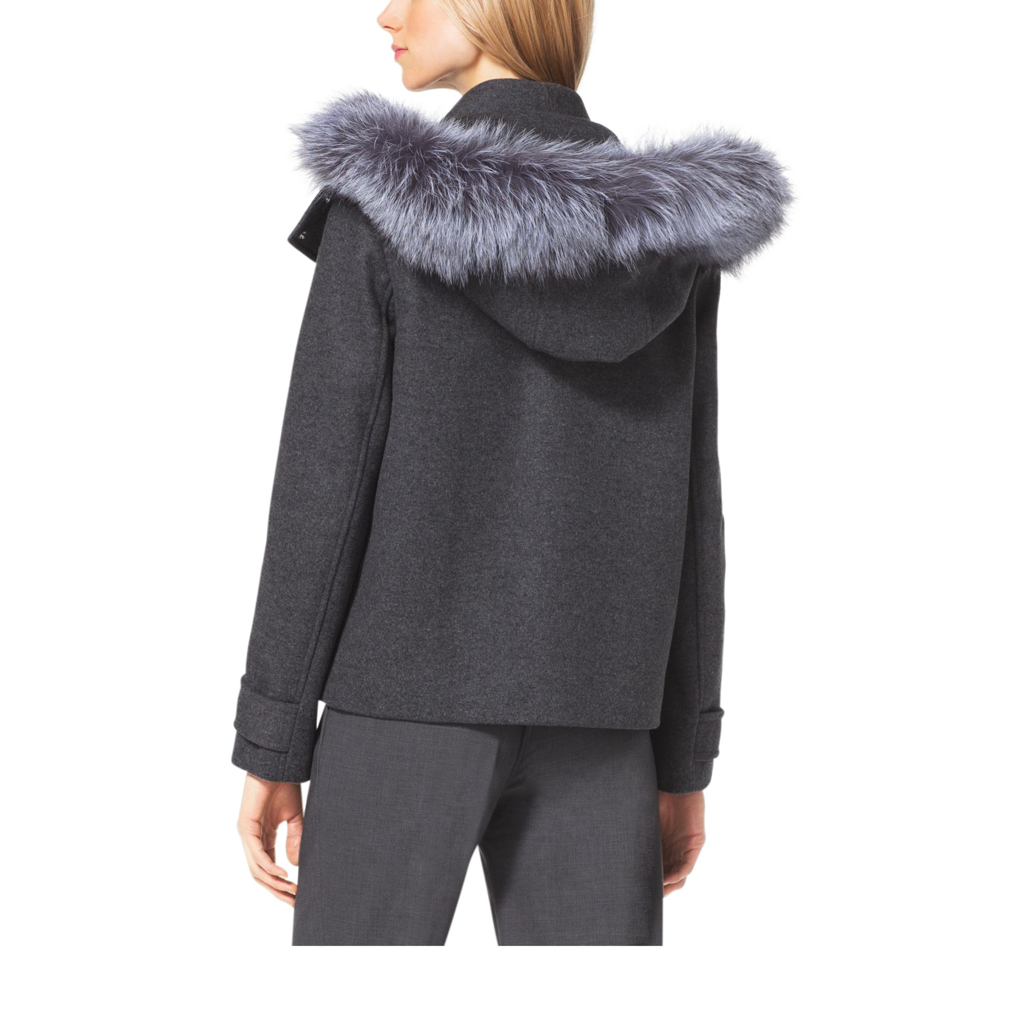 Michael kors Cropped Wool-melton Duffle Coat in Gray | Lyst