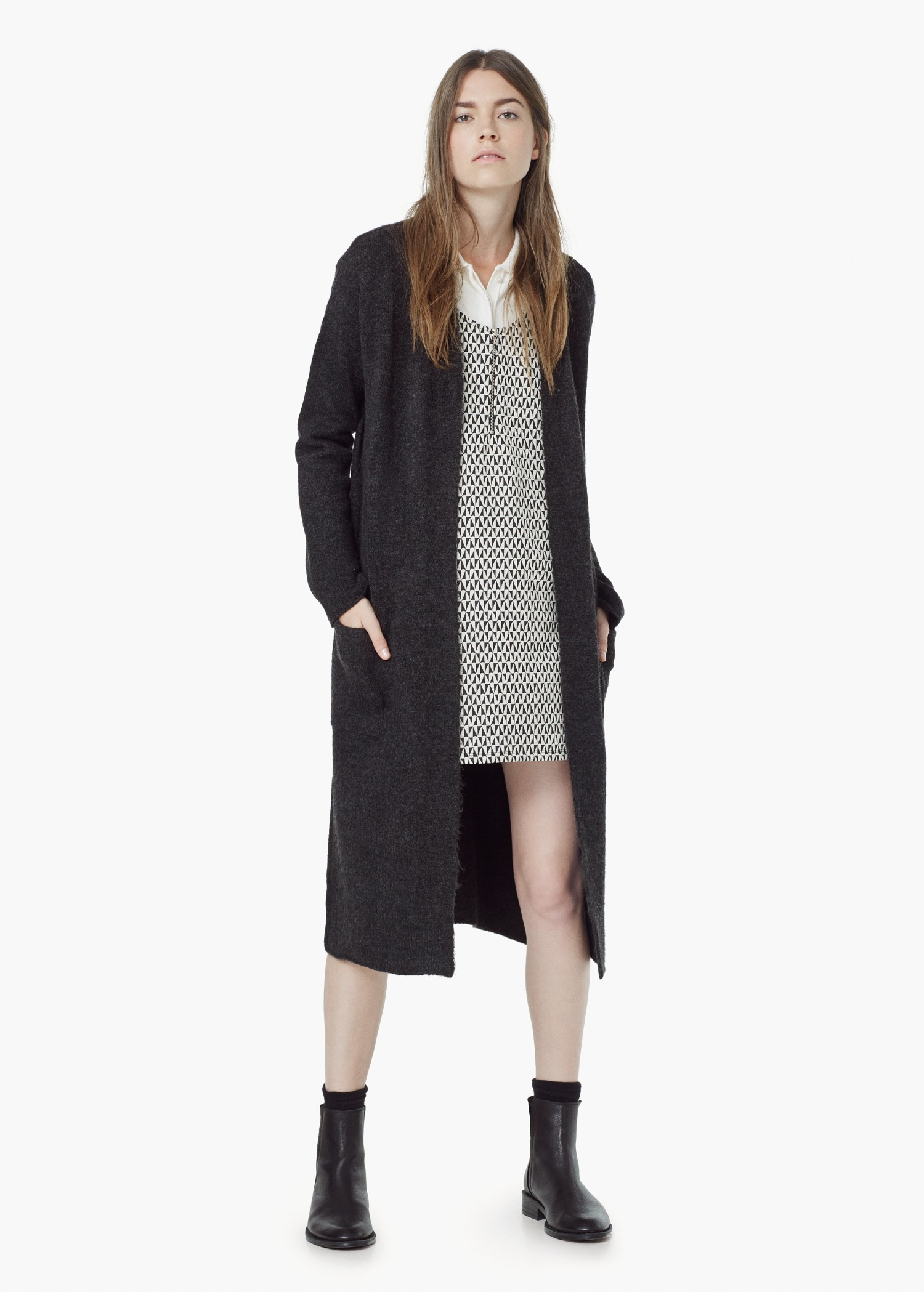 Mango Pocket Long Cardigan in Gray | Lyst