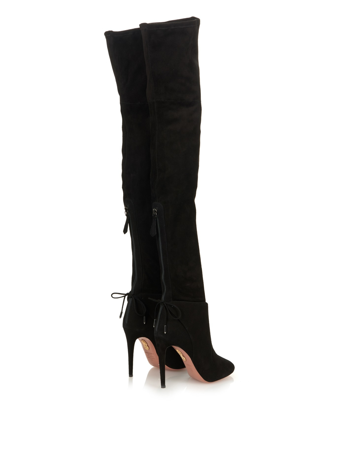 Aquazzura Giselle Suede Over-The-Knee Boots in Black | Lyst