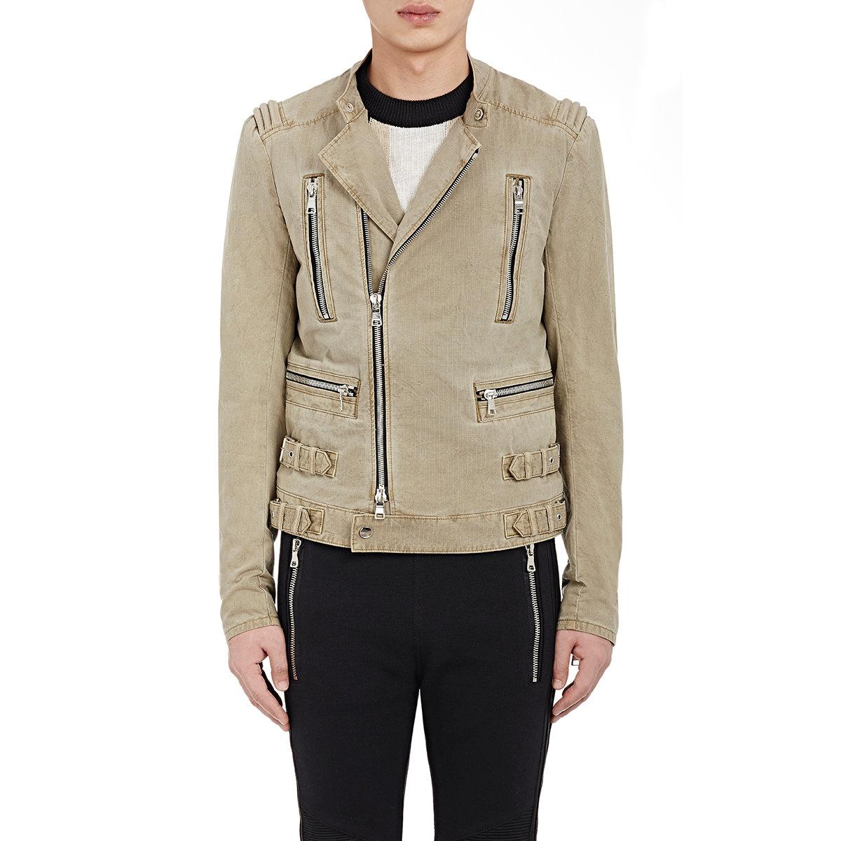 Lyst - Balmain Mens Ripstop Biker Jacket In Natural For Men-7332