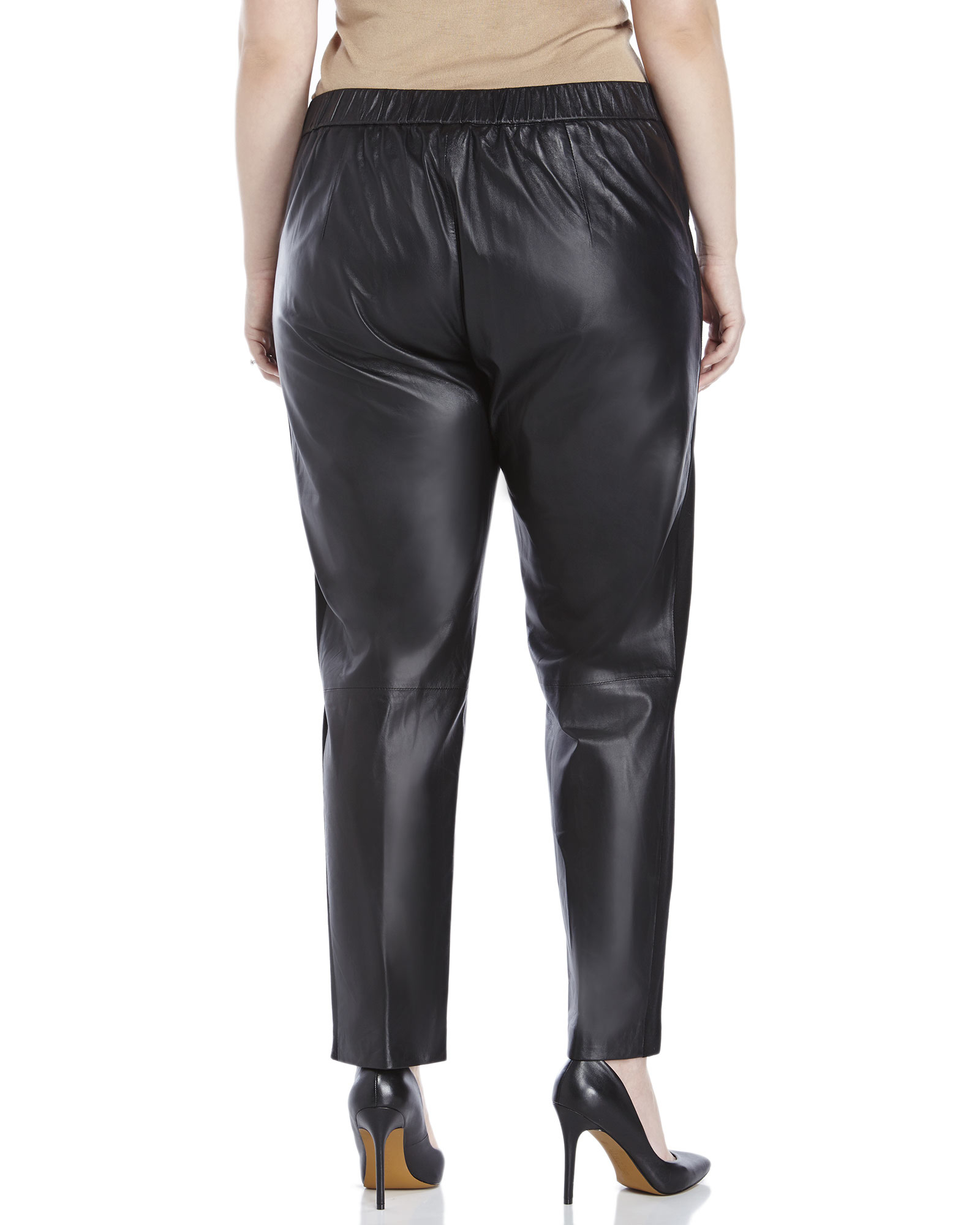 marina rinaldi plus size leather trousers in black | lyst