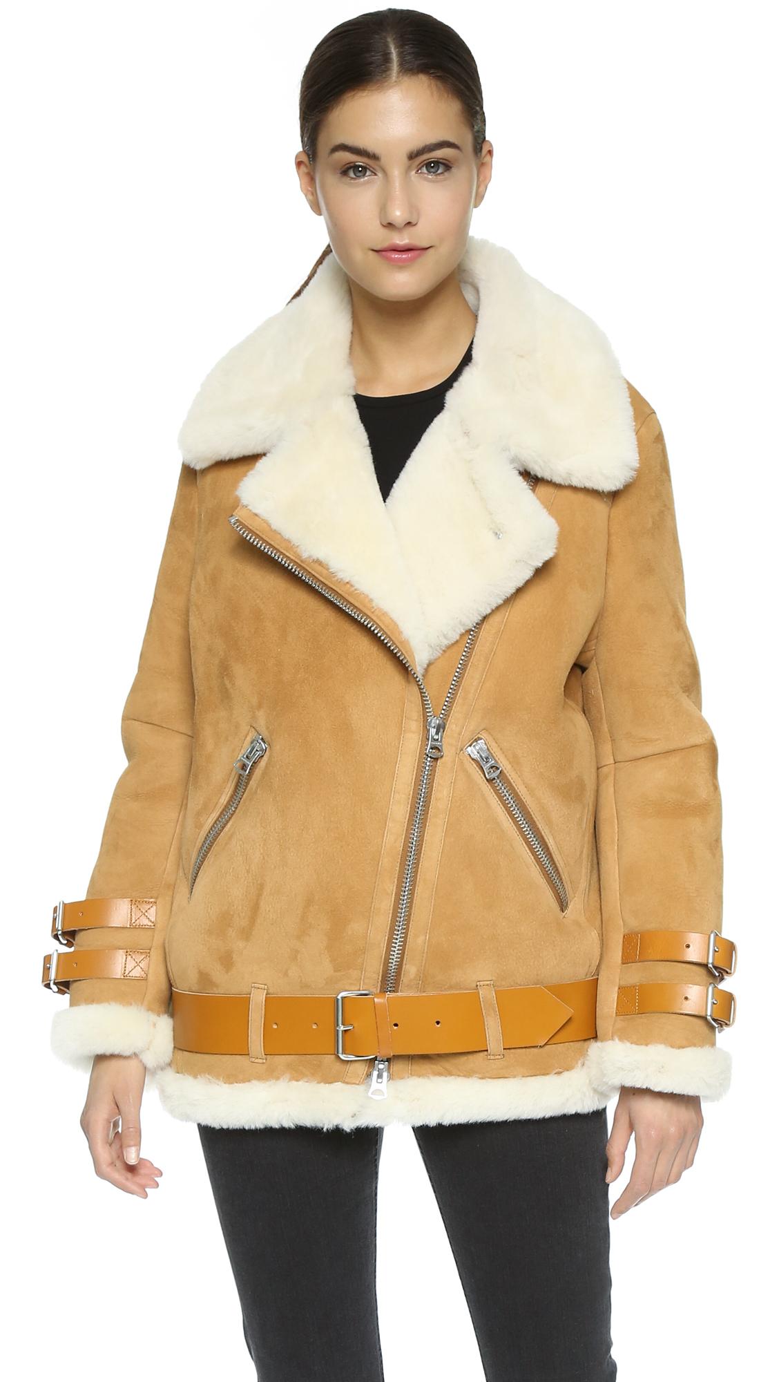 Acne studios Velocite Suede Shearling Moto Coat - Vintage Brown in ...
