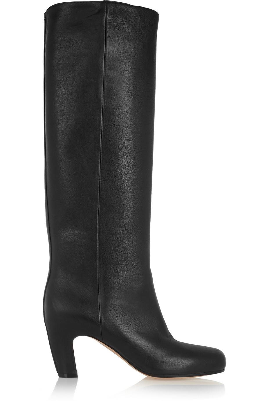 Maison martin margiela leather knee boots in black lyst for Maison martin margiela
