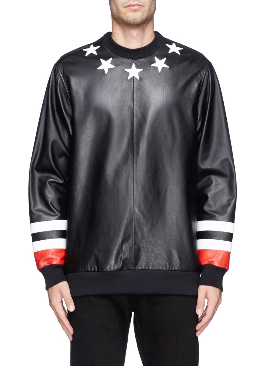 fee4d068b23e3 Lyst - Givenchy Star And Stripe Leather Front Sweatshirt in Black for Men