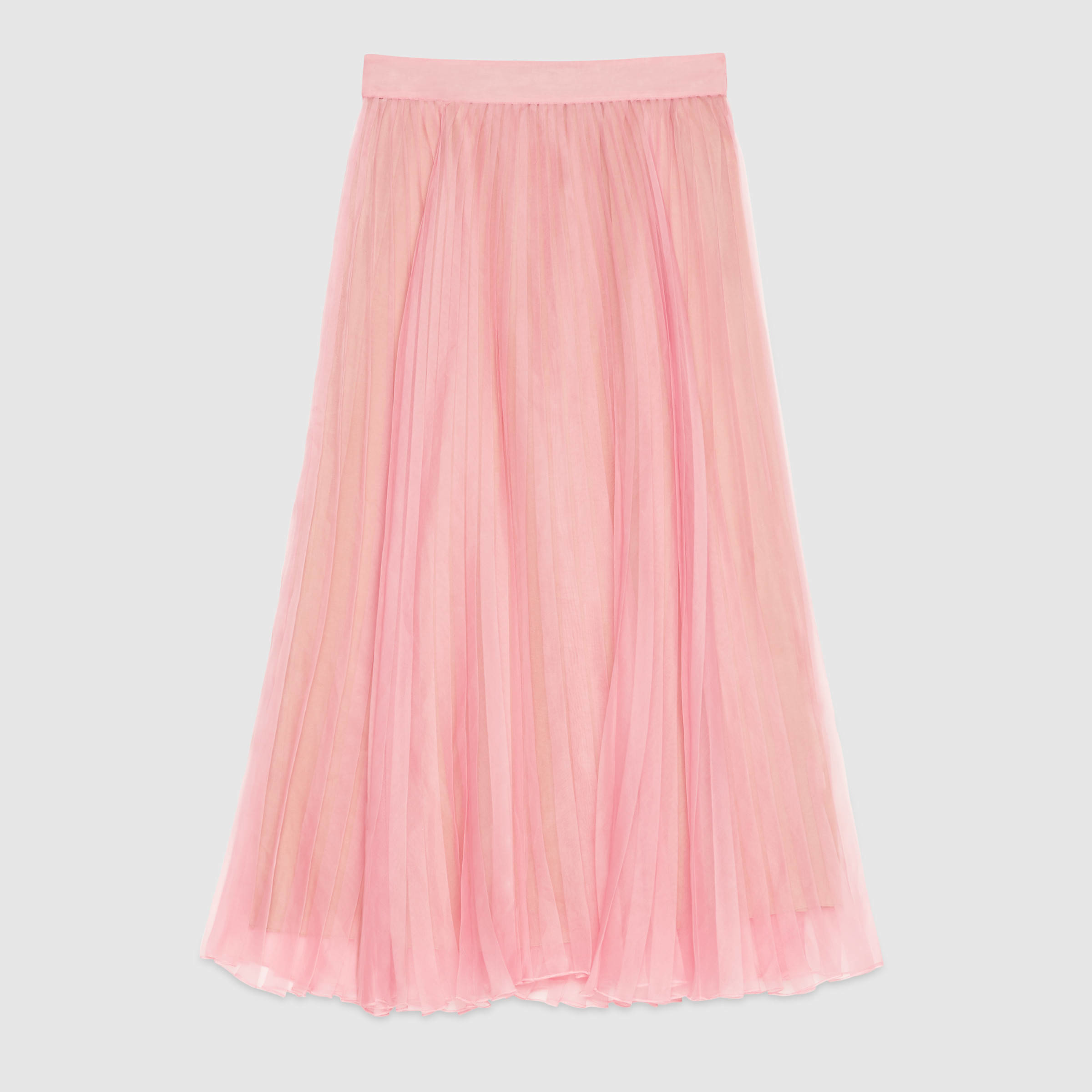 Gucci Silk Organza Pleated Skirt in Pink