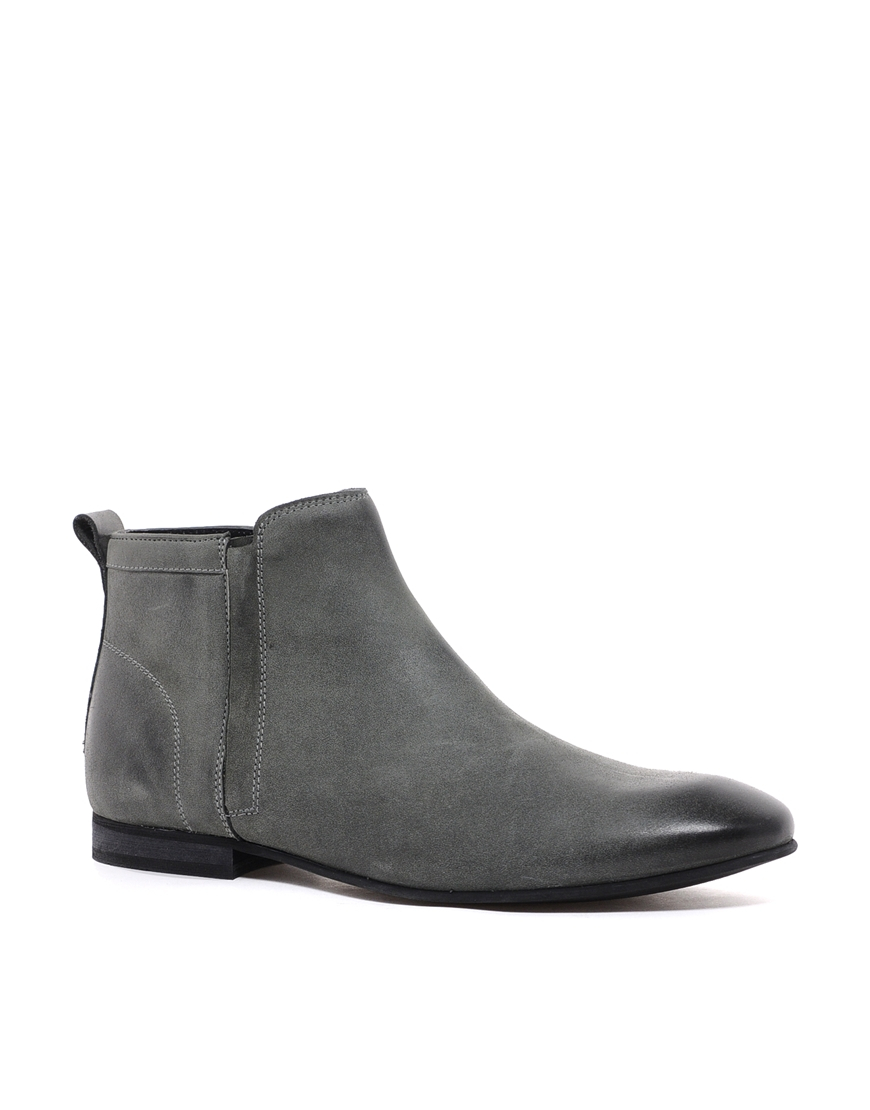 asos chelsea boots in leather in gray for men grey lyst. Black Bedroom Furniture Sets. Home Design Ideas