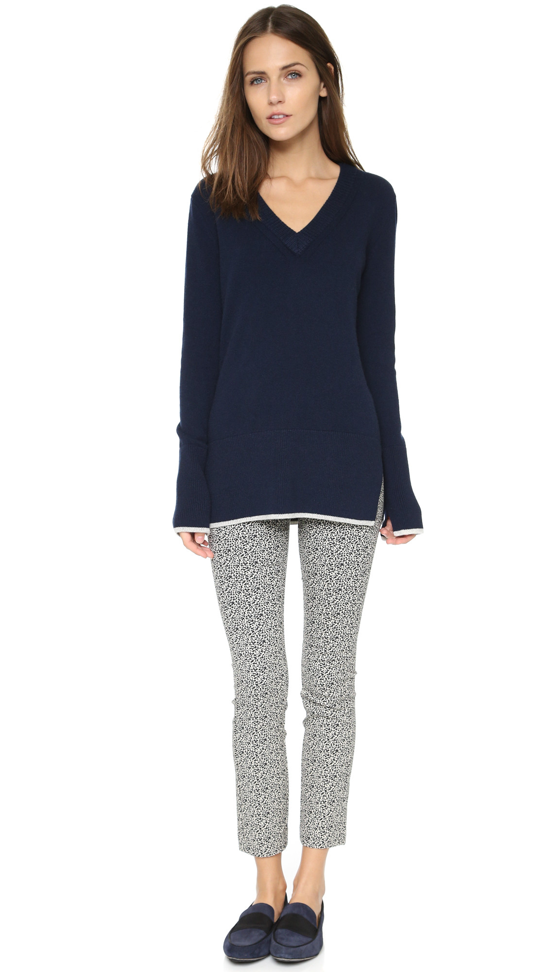 Rag & bone Flavia Cashmere V Neck Sweater in Blue | Lyst