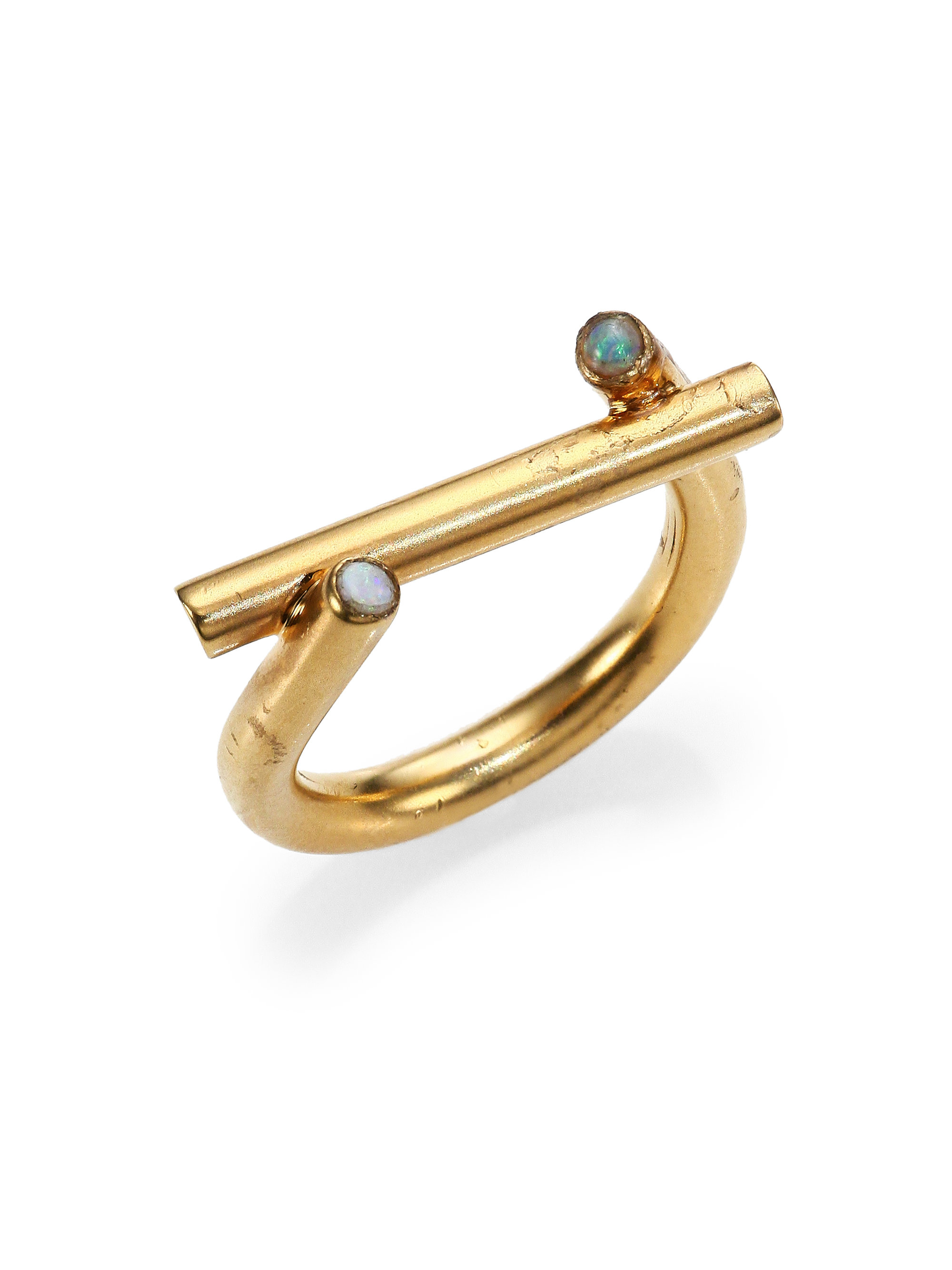 lyst normal rings gallery mina kelly moonstone ring jewelry product in metallic gold wearstler