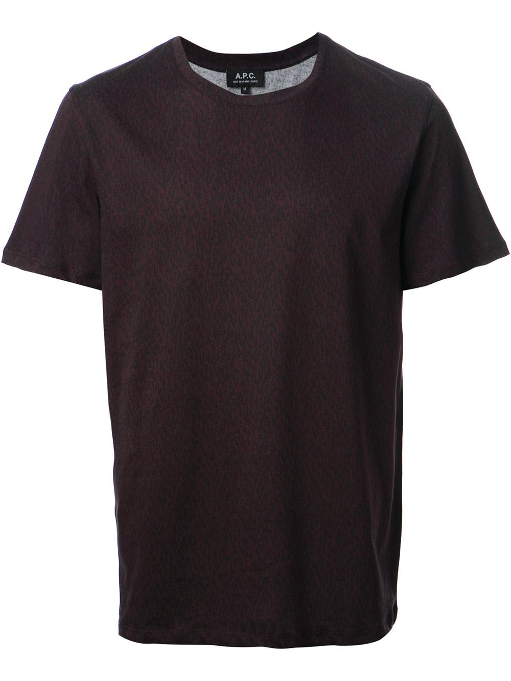 Safari Shirt Cognac Heels: A.p.c. Safari Tshirt In Purple For Men (pink & Purple)