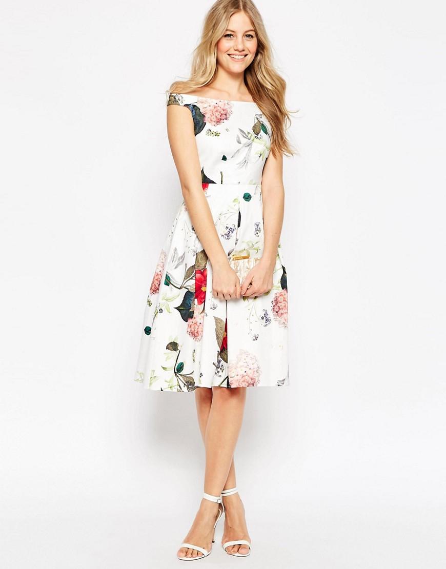 Asos Bardot Midi Prom Dress In Sketchy Botanical
