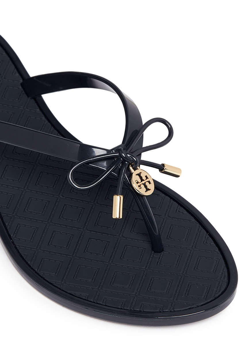 c6ee06b5047 Lyst - Tory Burch  jelly Bow Thong  Embossed Flip Flops in Blue