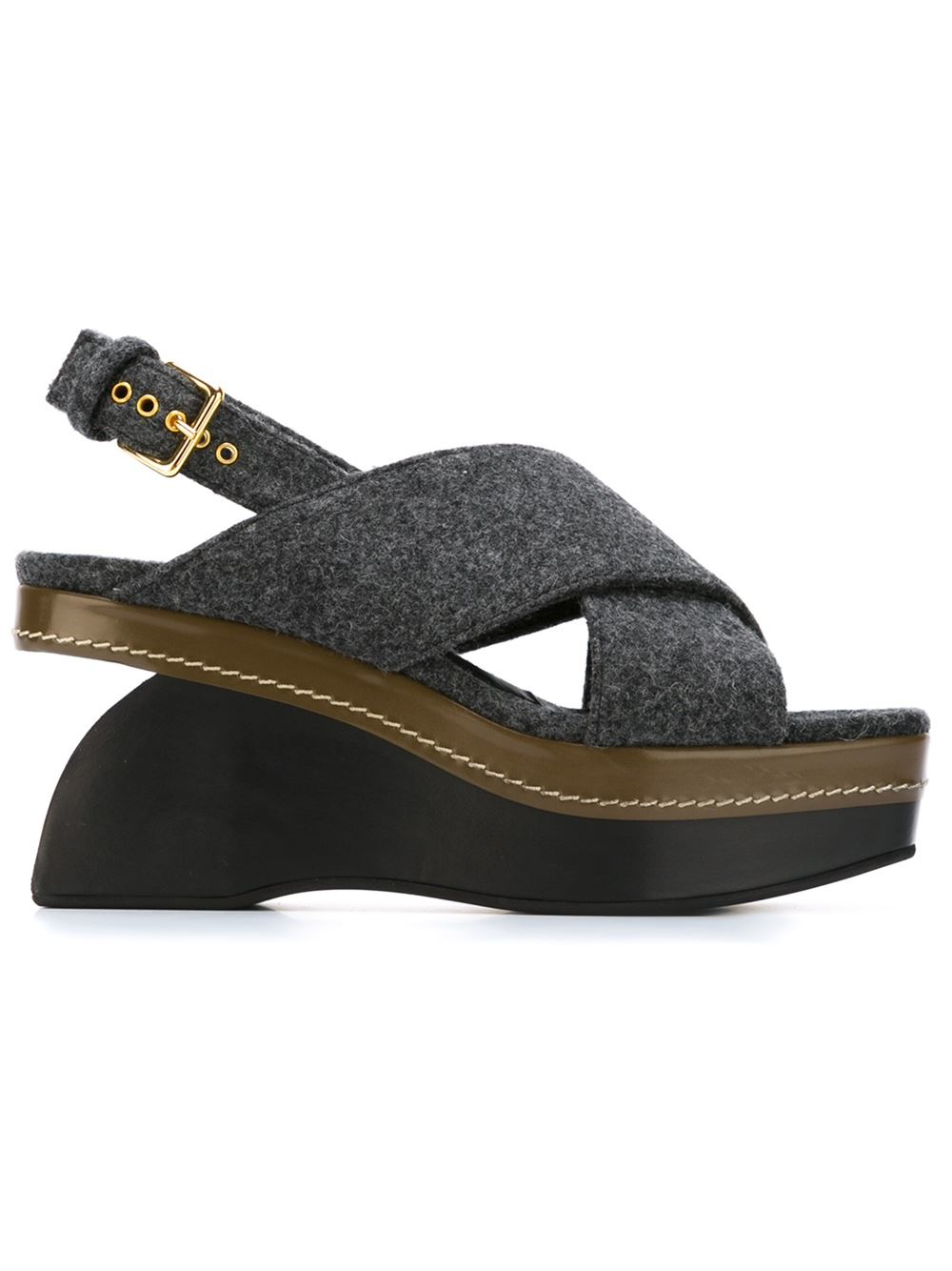 marni buckled wool wedge sandals in gray grey lyst