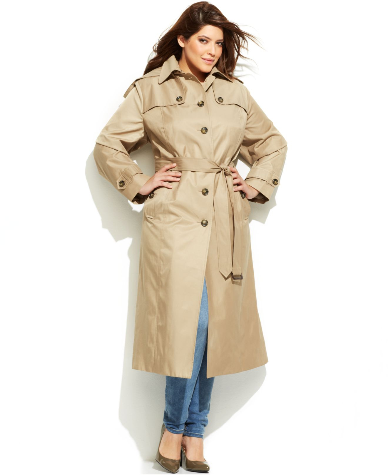 e8fcf4f0e50 Lyst - London Fog Plus Size Hooded Belted Maxi Trench Coat in Natural