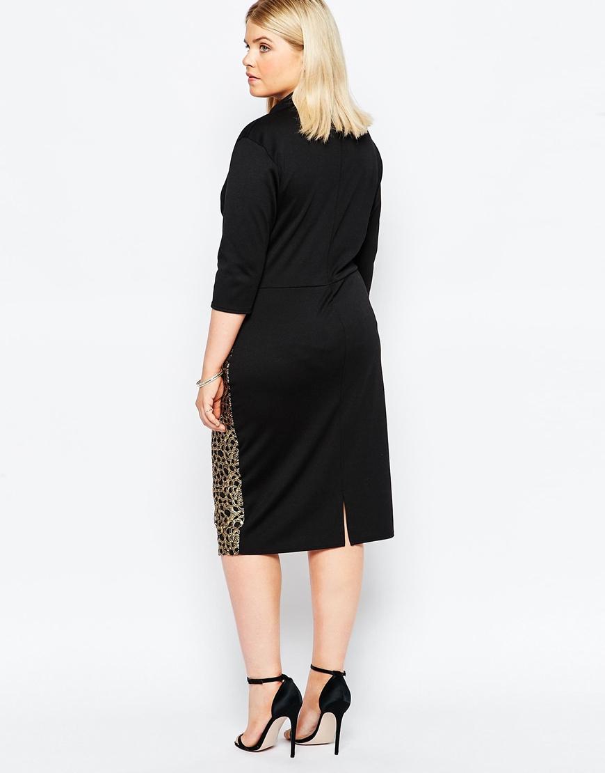 Club l Plus Size Midi Dress With Metallic Embroidered ...