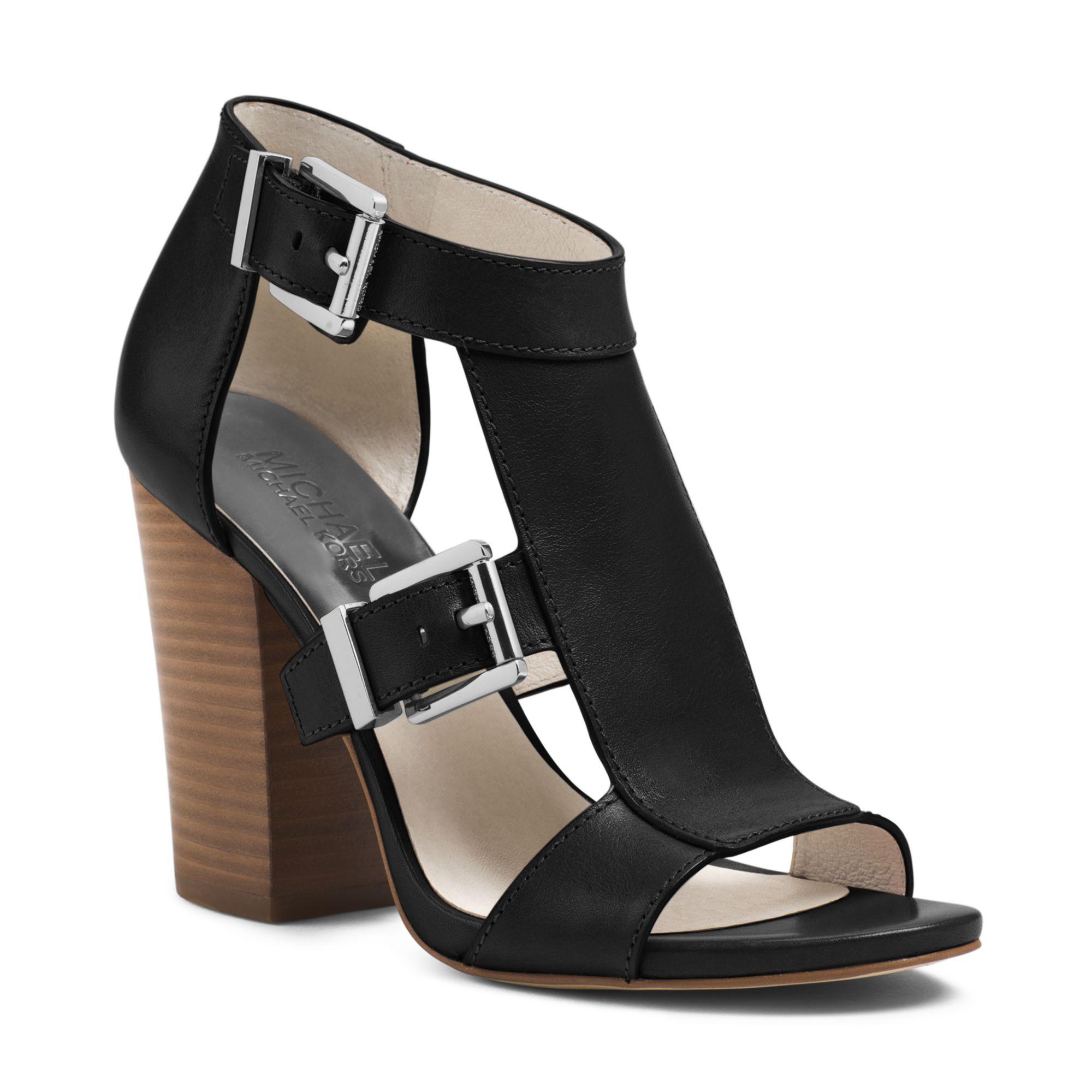 Michael Kors Michael Robin T Strap Wedge Sandals In Black