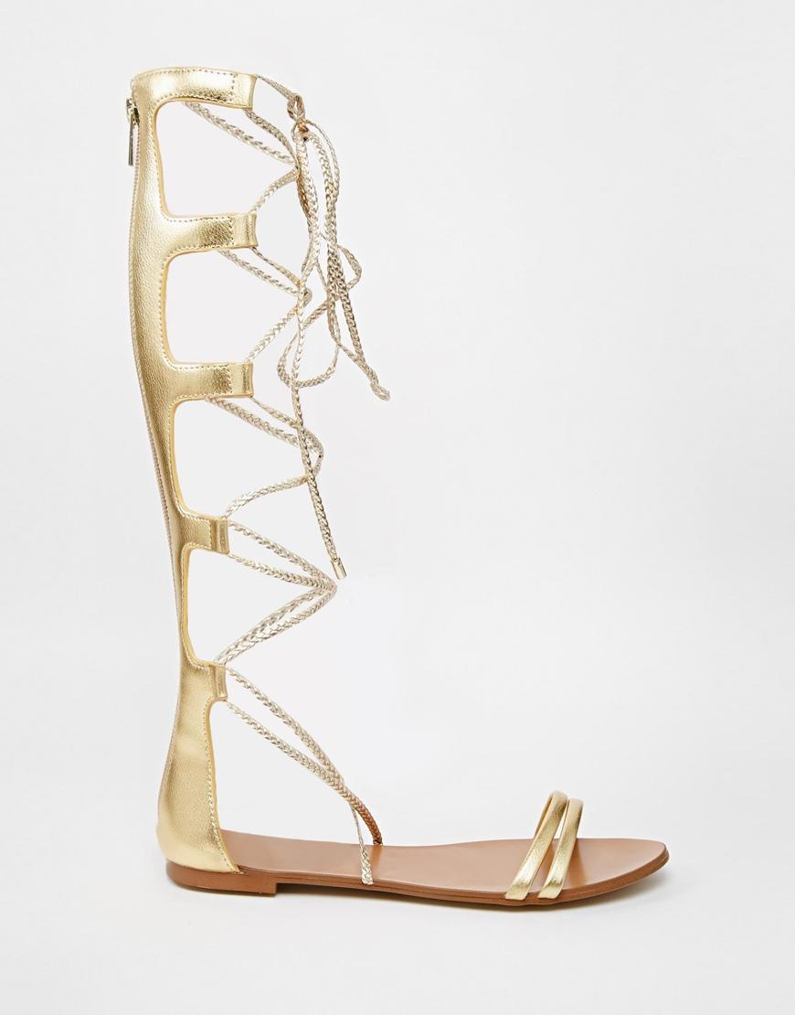 Aldo Umarelle Gold Knee Gladiator Flat Tie Sandals In