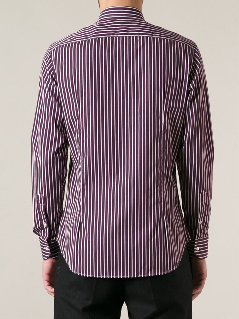 Etro Striped Shirt In Purple For Men Lyst
