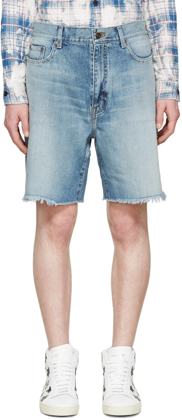 29f5bc8aa7 Saint Laurent Blue Denim Oversized Shorts in Blue for Men - Lyst