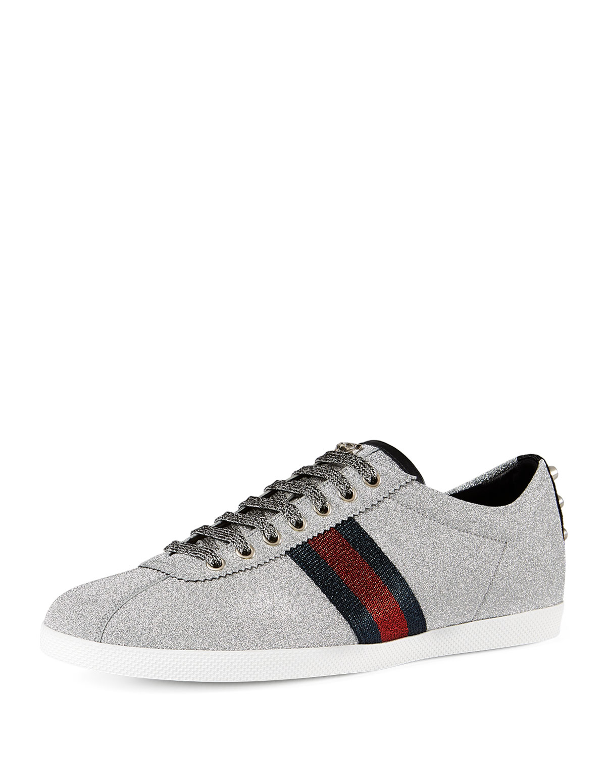gucci bambi web low top sneaker with stud detail in metallic for men save 10 lyst. Black Bedroom Furniture Sets. Home Design Ideas