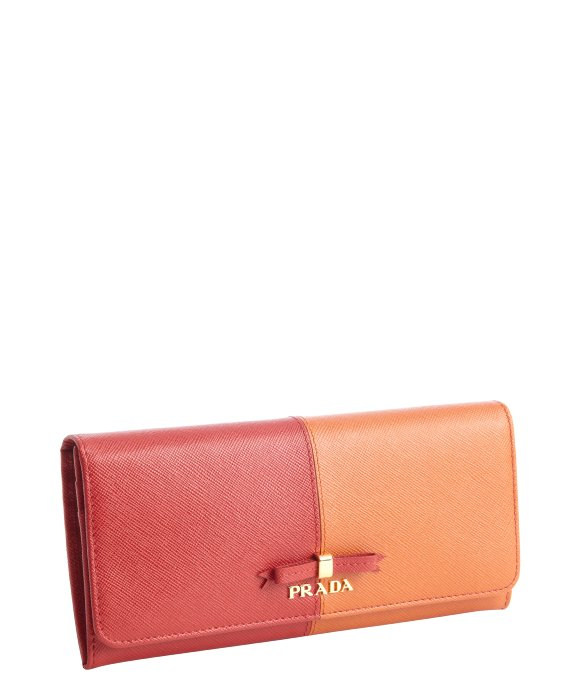 Prada Red and Orange Leather Wallet in Red (papaya) | Lyst