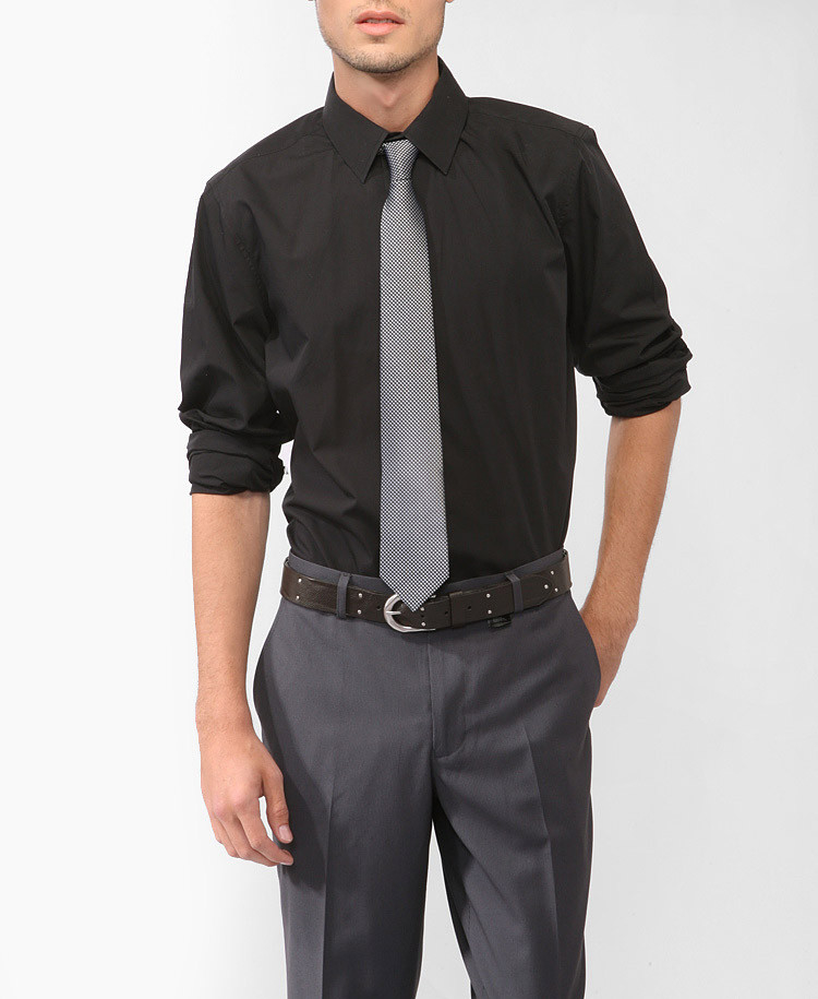 Lyst forever 21 shirt dotted tie in black for men for Black shirt black tie