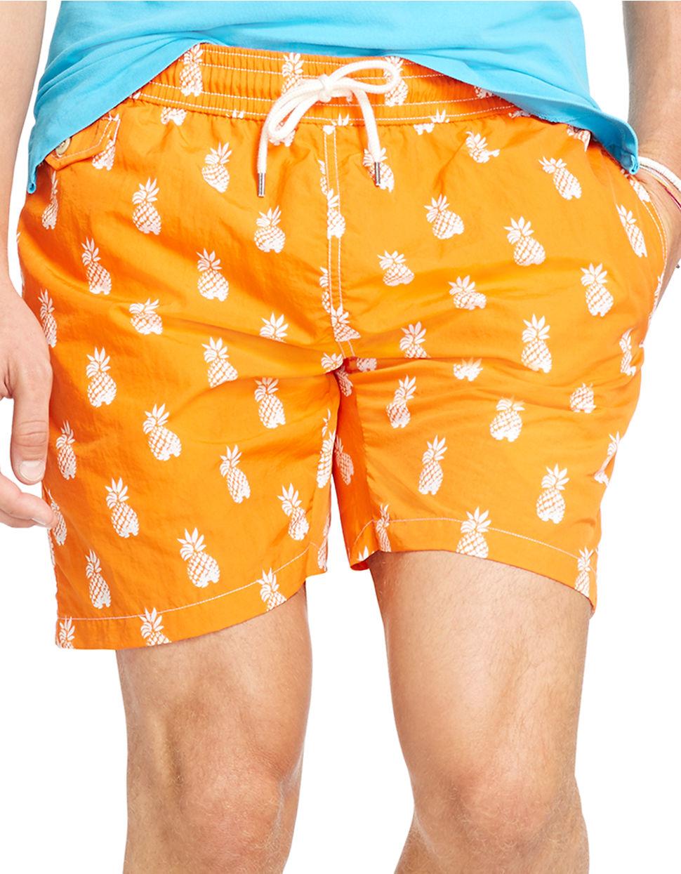 5dc7061ec6 Polo Ralph Lauren Pineapple-print Traveler Swim Shorts in Orange for ...