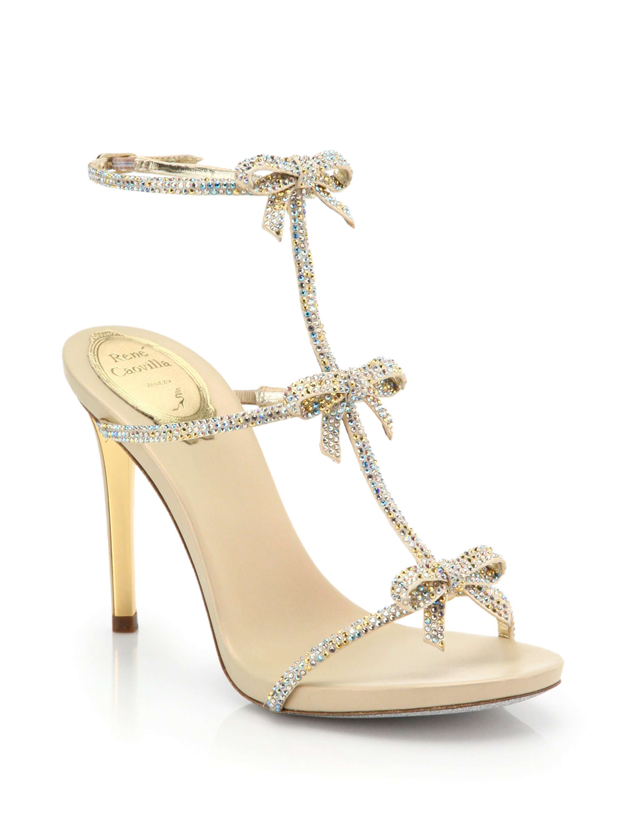 788a44c88 Lyst - Rene Caovilla Strass Swarovski Crystal Bow Sandals in Metallic