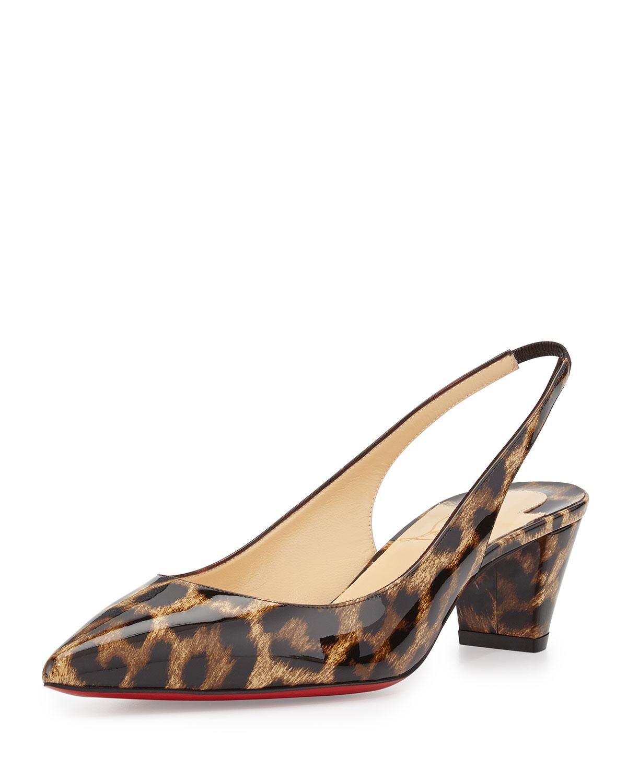 christian louboutin leopard print slingback pumps
