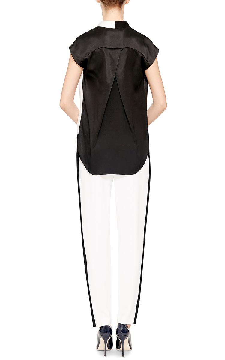 White Silk V-Neck Blouse 11