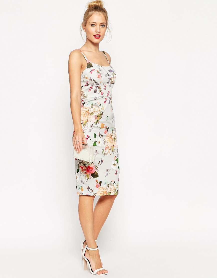 Lyst - Asos Floral Hitchcock Dress in Gray