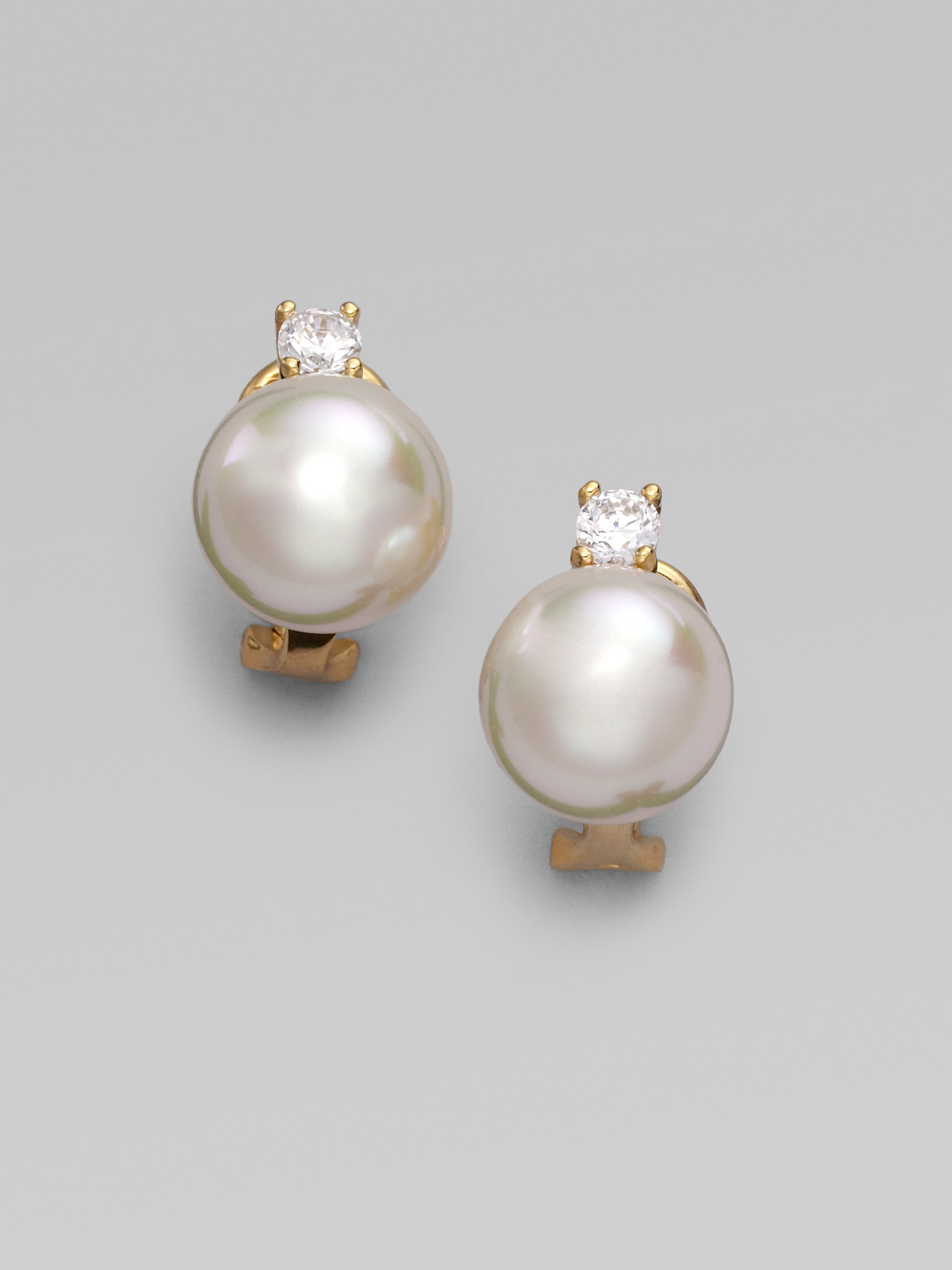 Lyst majorica 12mm white pearl earrings in white for White pearl