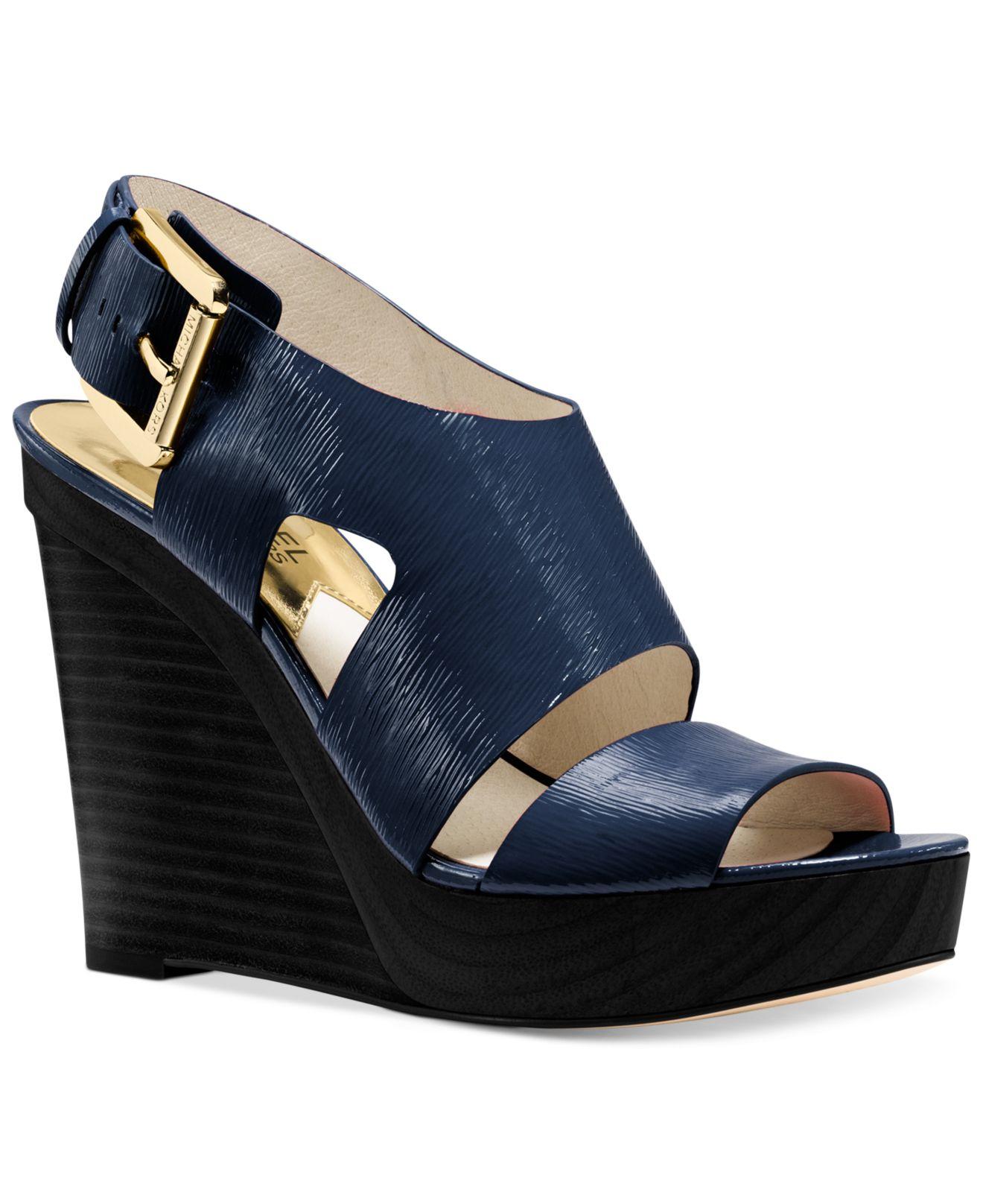acf47ccfb1f3 Lyst - Michael Kors Michael Carla Platform Wedge Sandals in Blue