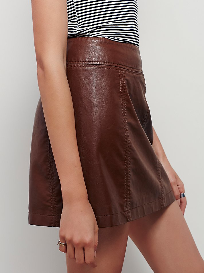 Free people Zip To It Vegan Leather Mini Skirt in Brown | Lyst