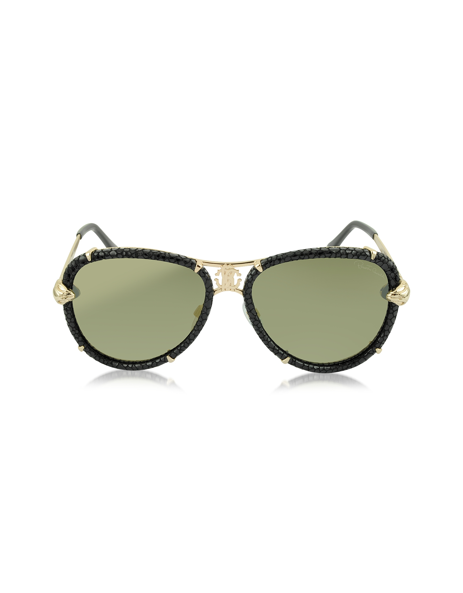 roberto cavalli mebsuta 885s leather gold metal aviator