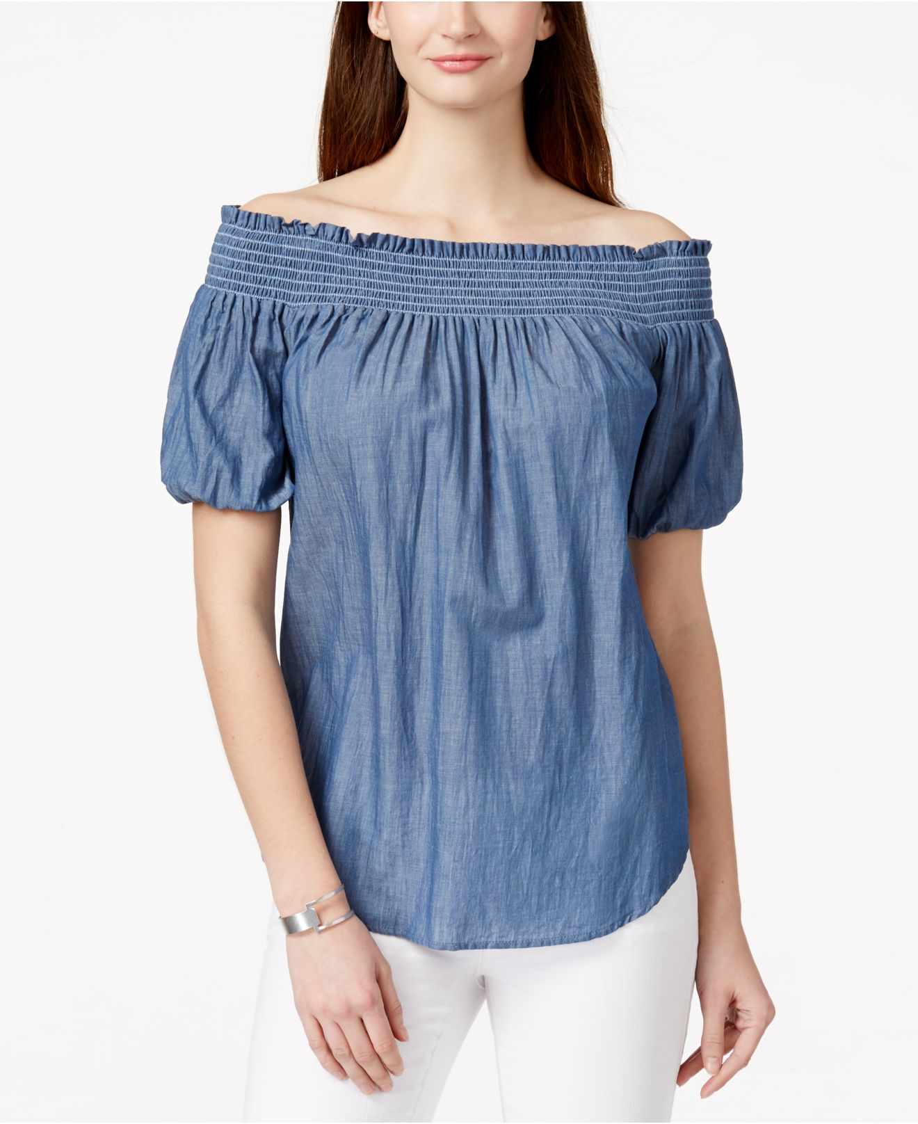 3025b0df00767 Lyst - Karen Kane Chambray Off-the-shoulder Top in Blue